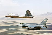 F/A-22 Raptor & F-16 Falcon Fighters Photo Print for Sale