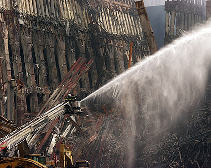 FDNY Firemen on Ladder at Ground Zero 9/11 Photo Print