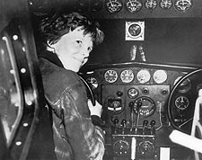 Female Aviator Amelia Earhart in Cockpit Photo Print for Sale