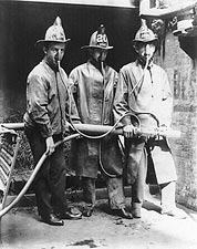 Firefighters Wearing Smoke Mask Invention Photo Print for Sale