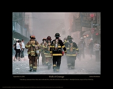 "Firefighting Posters: 9/11 Firefighter ""Walk of Courage"" Poster Print or Photo Print"