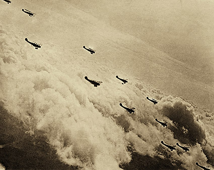 Formation of Curtiss JN-4 'Jenny' Aircraft Over Clouds WWI Photo Print