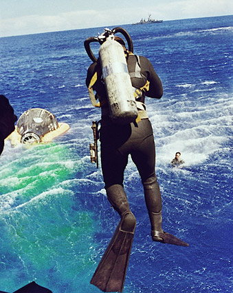Gemini 5 Diver Leaps from Helicopter Photo Print