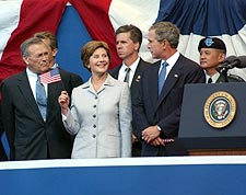 George W & Laura Bush with Donald Rumsfeld Photo Print for Sale
