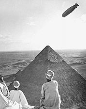 Graf Zeppelin Over Pyramids of Giza, Egypt Photo Print for Sale