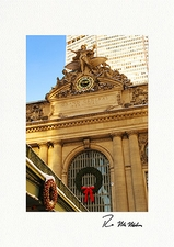 Grand Central Station Christmas Wreath Personalized Christmas Cards