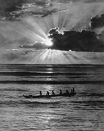 Hawaiian Canoe Honolulu Harbor, Hawaii Photo Print