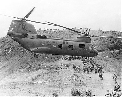 Helicopter Assisted Troop Lift Vietnam War Photo Print For Sale