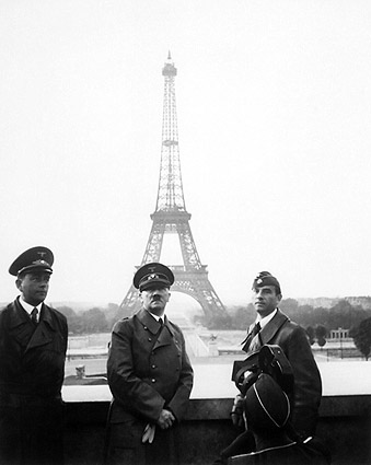 Hitler in Paris w/ Eiffel Tower WWII Photo Print