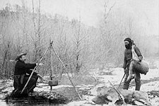 Hunting Deer Old West Miners Cooking 1888 Photo Print for Sale