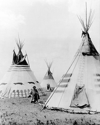 Indian Woman in Blood Camp with Tipis 1913 Photo Print
