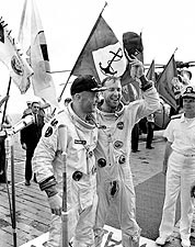 James Lovell & Buzz Aldrin at Gemini 12 Recovery NASA Photo Print for Sale