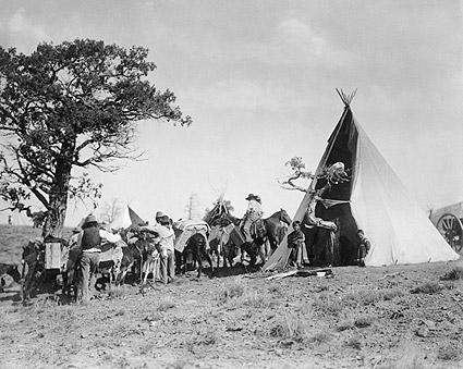 Jicarilla Tipi and Indians Edward S. Curtis Photo Print