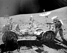 John Young Apollo 16 Astronaut with Lunar Rover Photo Print for Sale