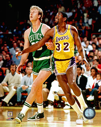 Larry Bird & Magic Johnson Basketball Photo Print