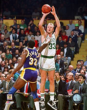 Larry Bird Shooting Over Magic Johnson Basketball Photo Print For Sale