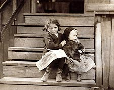 Poor Latch Key Kids Lewis Hine 1911 Photo Print for Sale