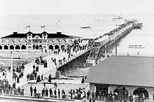 Long Beach Pier & Crowd, California 1905 Photo Print for Sale