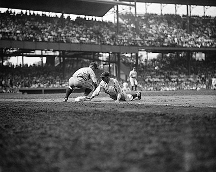 Lou Gehrig Steals 3rd Base Baseball Photo Print
