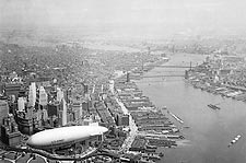 Lower Manhattan, East River & Army Blimp NY Photo Print for Sale