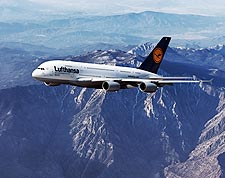 Lufthansa Airbus A380-800 Over Mountains Photo Print for Sale