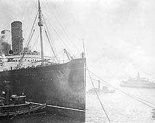 Lusitania Ocean Liner w/ Tugboats 1900s Photo Print for Sale