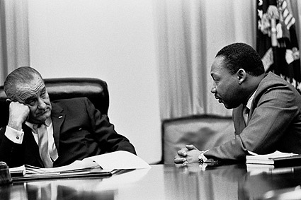 Lyndon Johnson and Martin Luther King in Cabinet Room Photo Print