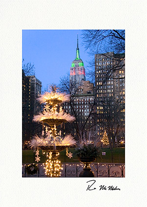 Madison Square Park and Empire State Building Individual Christmas Cards