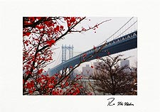 Manhattan Bridge Winter Berries Brooklyn Personalized Christmas Cards