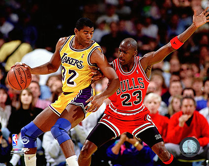 Michael Jordan vs. Magic Johnson 1990 Basketball Photo Print
