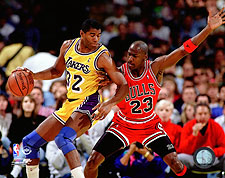 Michael Jordan vs. Magic Johnson 1990 Basketball Photo Print For Sale