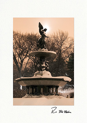 Moonlit Bethesda Fountain Angel Personalized Christmas Cards