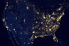 NASA Satellite City Lights of the United States Photo Print for Sale