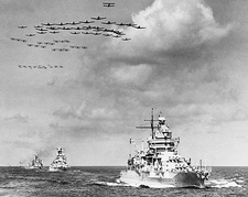Naval Ships & Planes in Open Sea Photo Print