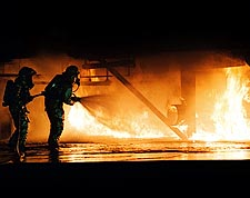 Navy Firefighter Fire Containment Training Photo Print for Sale