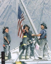 New York Firefighters Raising Flag 9/11 NYC Photo Print