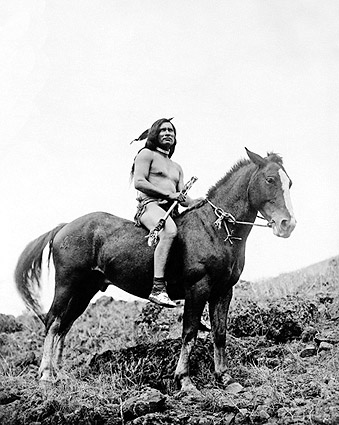 Nez Percé Warrior on Horse Edward S. Curtis Photo Print