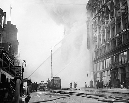 NYC Firefighters Battle Fire 1909 Photo Print