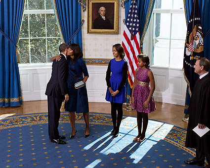 Obama Family at Official Swearing-In Ceremony 2013 Photo Print