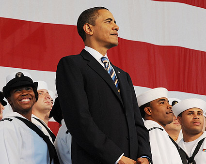 Obama With Troops at Naval Air Station Jacksonville Photo Print
