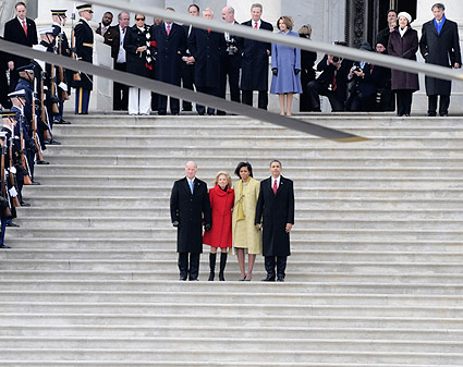 Obamas and Bidens on Capitol Steps after Inauguration Photo Print