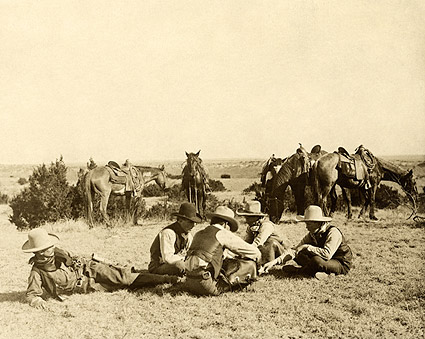 Old West Cowboys Relaxing on the Ranch 1906 Photo Print
