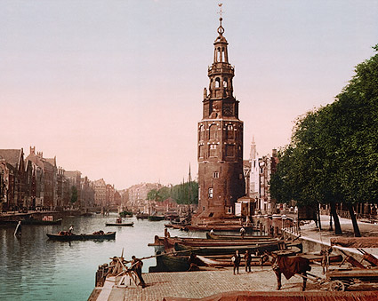 Oude Schans Canal, Amsterdam Holland Photo Print