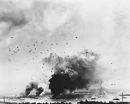 Pearl Harbor Bombing from Distance WWII Photo Print