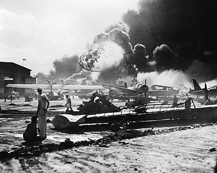 Pearl Harbor Bombing of Naval Air Station Photo Print