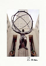 Atlas & Rockefeller Center Personalized New York City Christmas Cards
