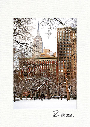 Personalized Empire State Building Winter Holiday Cards