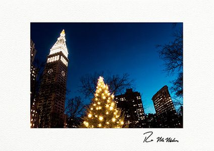 Madison Square Park Clock Tower and Flatiron Building Individual Christmas Cards