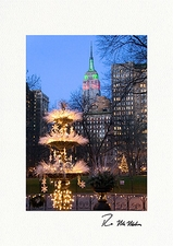 Personalized Madison Square Park Empire State Building Christmas Cards