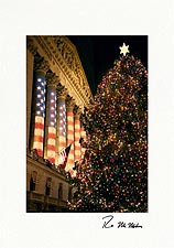 Wall Street Christmas Tree Personalized New Yok City Christmas Cards